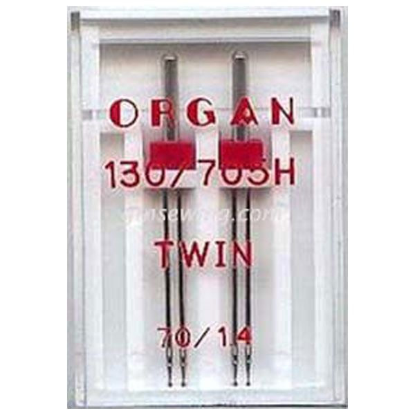 Organ Twin Sewing Needles 130 705H Single Size 70 1.4mm - 2 Needles Per Pack