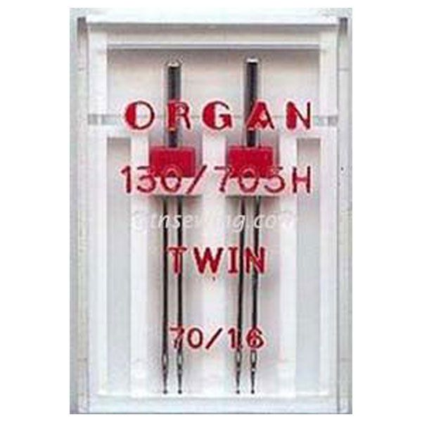 Organ Twin Sewing Needles 130 705H Single Size 70 1.6mm - 2 Needles Per Pack