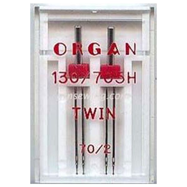 Organ Twin Sewing Needles 130 705H Single Size 70 / 2 mm - 2 Needles Per Pack