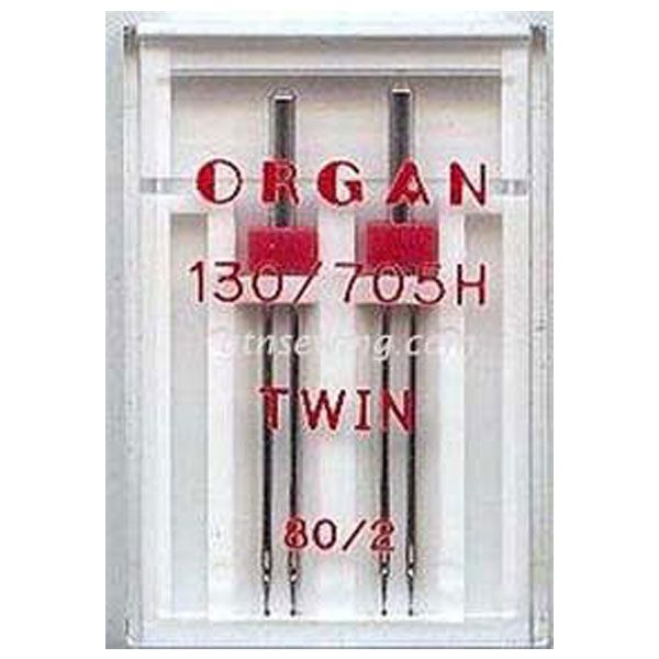Organ Twin Sewing Needles 130 705H Single Size 80 / 2 mm - 2 Needles Per Pack