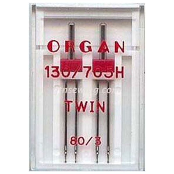 Organ Twin Sewing Needles 130 705H Single Size 80 / 3 mm - 2 Needles Per Pack