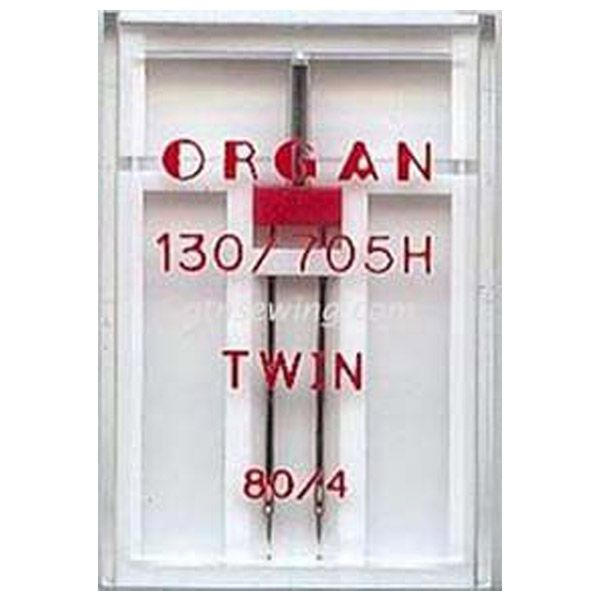 Organ Twin Sewing Needles 130 705H Single Size 80 / 4 mm - 1 Needle Per Pack