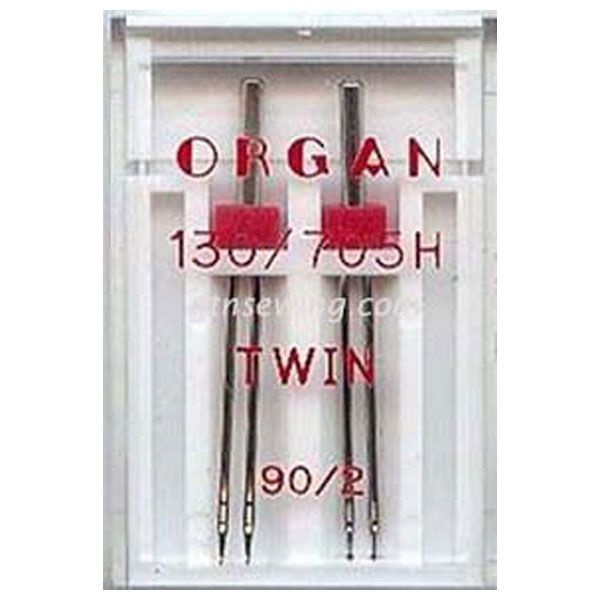 Organ Twin Sewing Needles 130 705H Single Size 90 / 2 mm - 2 Needles Per Pack