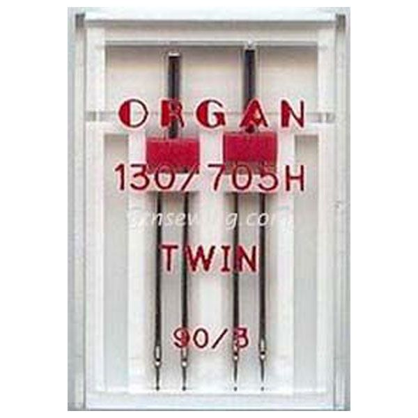 Organ Twin Sewing Needles 130 705H Single Size 90 / 3 mm - 2 Needles Per Pack