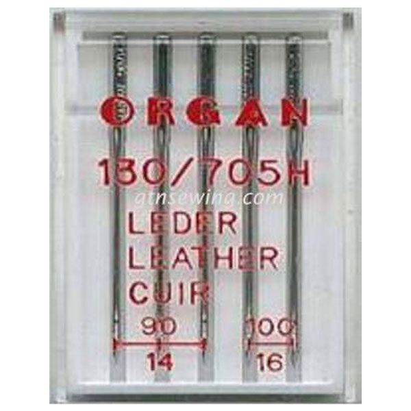 Organ Leather Sewing Needles 130 705H Assorted Sizes 90 & 100 - 5 Needles Per Pack